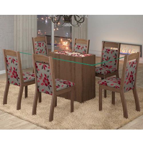 Conjunto de Mesa e Cadeira Turquesa 6 Cadeiras Viero Móveis