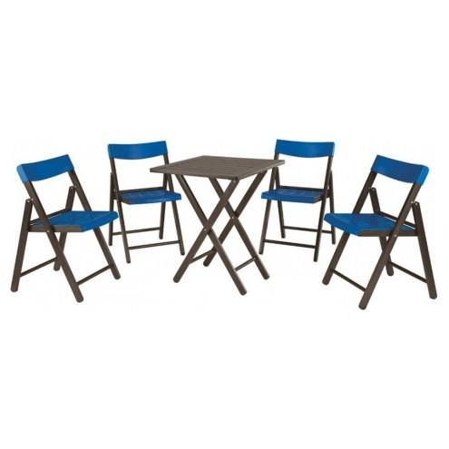 Conjunto de Mesa e 4 Cadeiras Dobravéis Tabaco Com Azul Potenza 10630/030 Tramontina