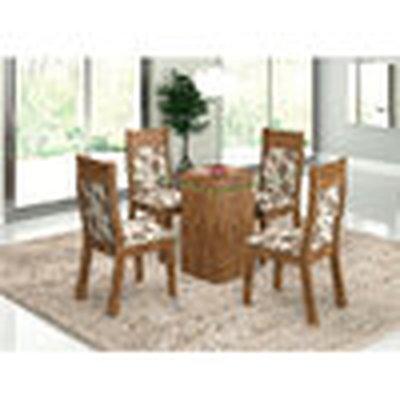 Conjunto de Mesa e Cadeira Nicole 4 Cadeiras Viero Móveis