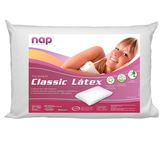 Travesseiro Nap Sintetico Classic 100% Algodão 100% Látex 48x68cm