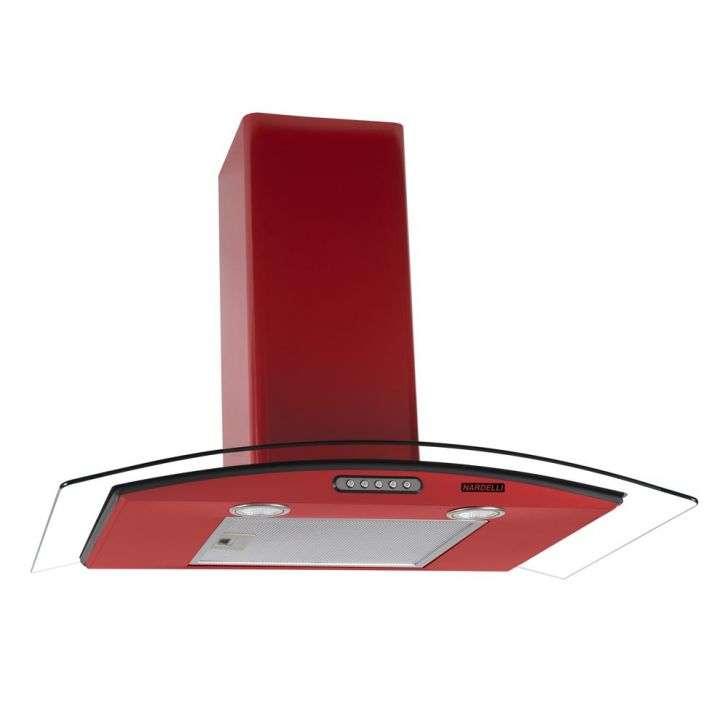 Coifa de Parede Nardelli 75 Cm Curvo Slim Vermelha - 110v - Com Vidro