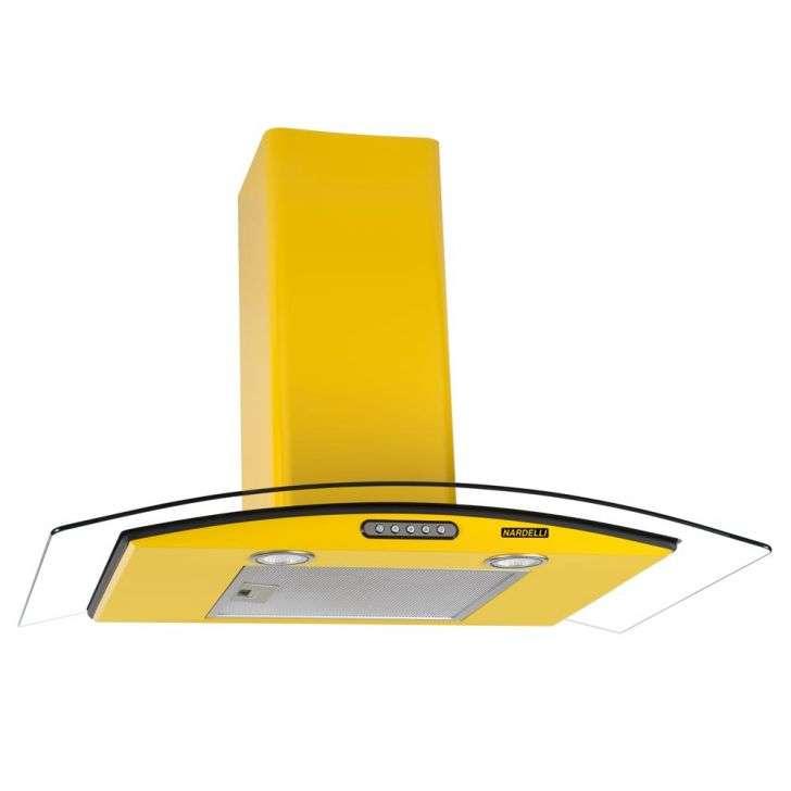 Coifa de Parede Nardelli 90 Cm Curvo Slim Amarelo - 110v - Com Vidro