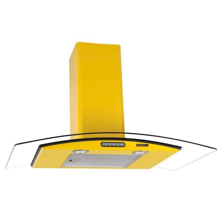 Coifa de Parede Nardelli 90 Cm Curvo Slim Amarelo - 220v - Com Vidro