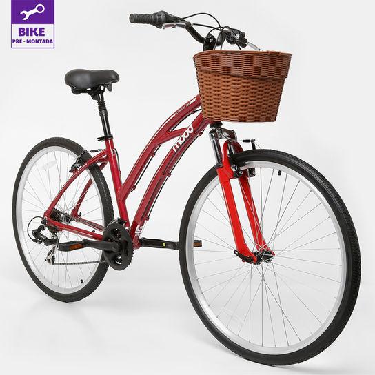 Bicicleta Mood Confort T17 Aro 700 Susp. Dianteira 21 Marchas - Vermelho
