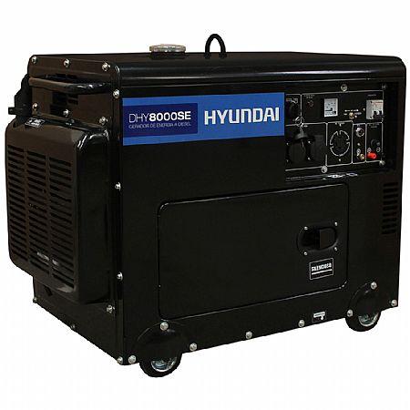 Gerador de Energia Diesel 7000w Hyundai Monofásico Bivolt - Dhy8000se