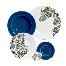 Aparelho de Jantar e Chá La Tavola Floral Arabesco Azul 20 Peças - Porto Brasil