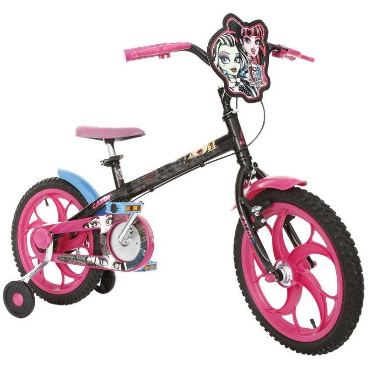 Bicicleta Caloi Monster High Aro 20 Rígida 1 Marcha - Preto/rosa