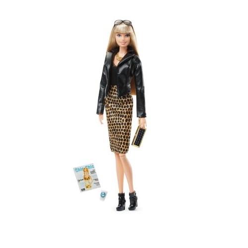 Boneca Barbie Mattel Black Label - Jaqueta de Couro e Vestido Dgy11