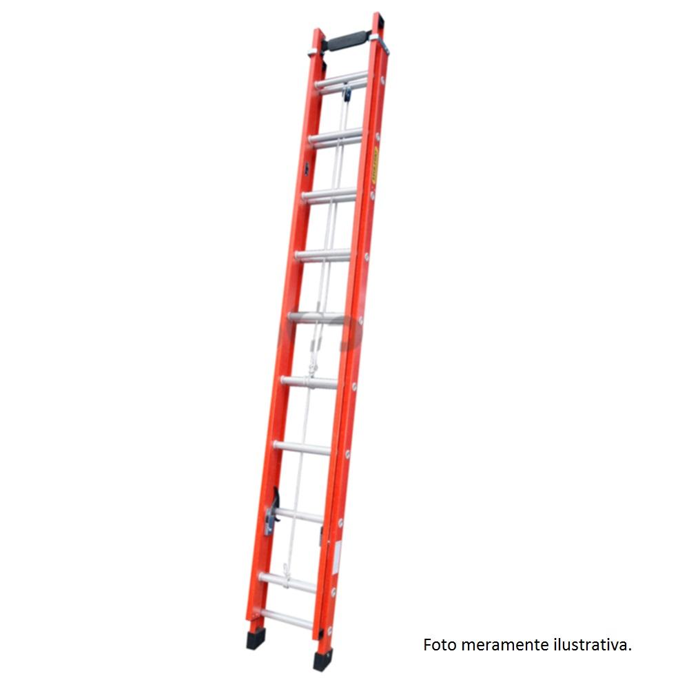 Escada de Fibra Extensível 20 Degraus Ef101 Escafort