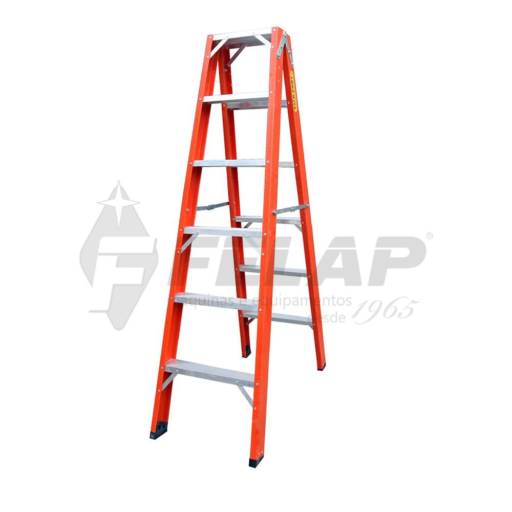 Escada de Fibra Tesoura Duplo Acesso 7 Degraus Eaf304 Escafort