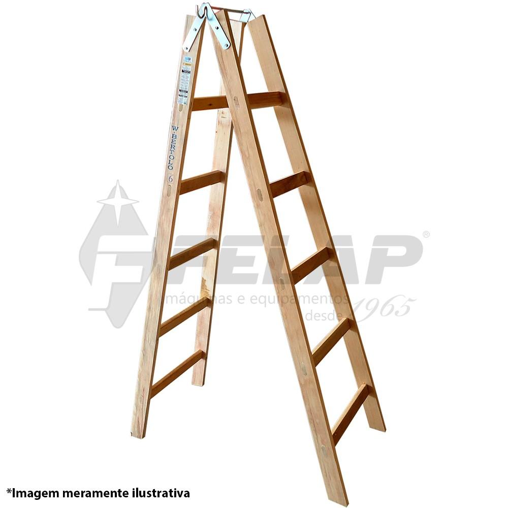 Escada de Madeira Pintor 12 Degraus Pm12 W Bertolo