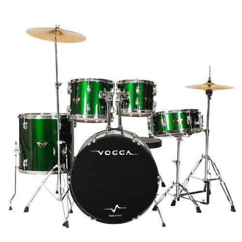 Bateria Acústica Vogga Talent Com Banco Verde - Vpd918