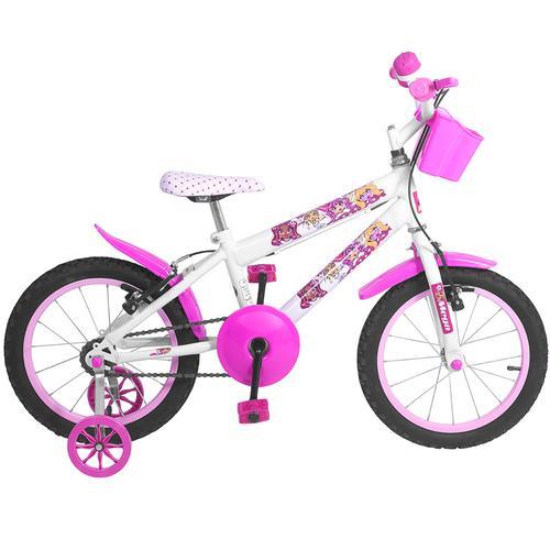 Bicicleta Mega Bike Lady Monster Aro 16 Rígida 1 Marcha - Branco/rosa
