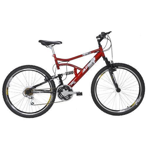 Bicicleta Athor Bike Max Aro 26 Full Suspensão 18 Marchas - Vermelho