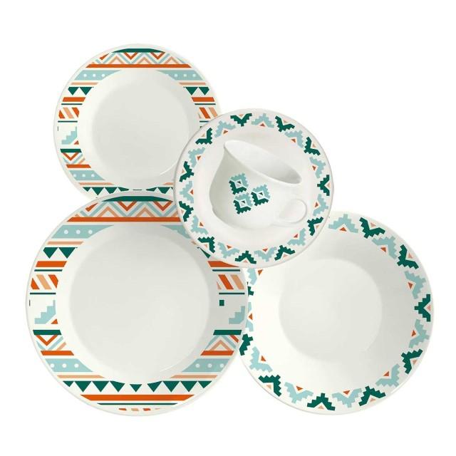 Aparelho de Jantar e Chá Etnia 20 Peças - Biona Cerâmicas