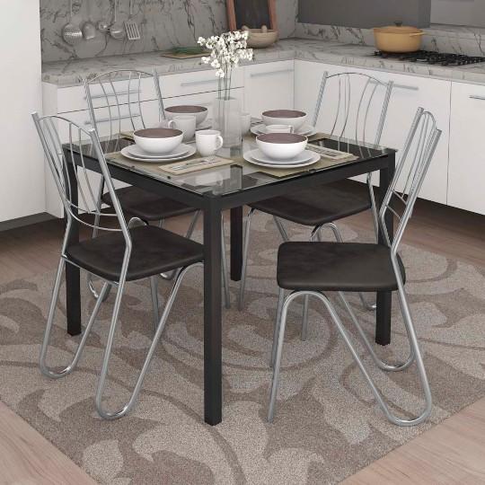 Conjunto de Mesa e Cadeira Volga/ 4 Cadeiras Florença Kappesberg