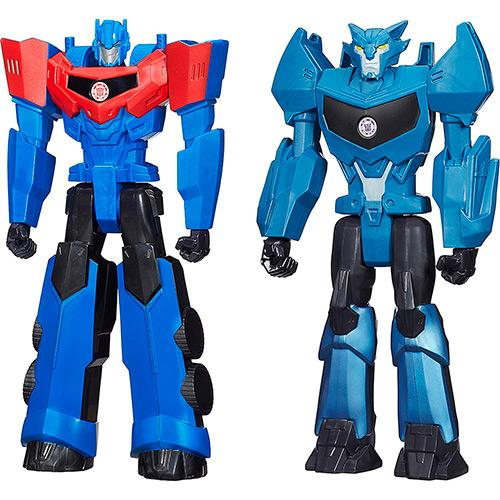 Bonecos Transformers Titan Hero Optimus Prime e Steeljaw Hasbro