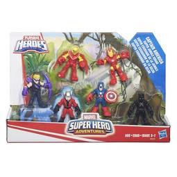 Boneco Conjunto Com 6 Marvel Super Hero Adventures Capitão América Esquadrão da Selva Hasbro