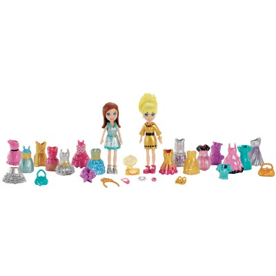 Boneca Polly Pocket Mattel 2 Amigas Fashion Festa Brilhante