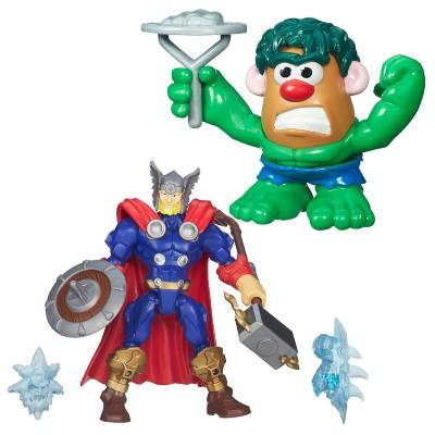 Boneco Kit Thor Transformável e Mini Mr. Potato Head Hulk Marvel Hasbro