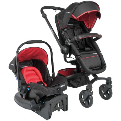 Carrinho de Bebe Kiddo Bebê Conforto Spin 360 Preto e Vermelho