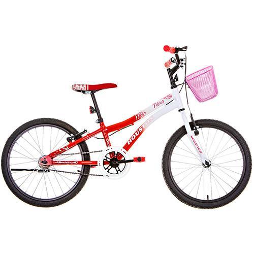 Bicicleta Houston Nina Aro 20 Rígida 1 Marcha - Branco/vermelho