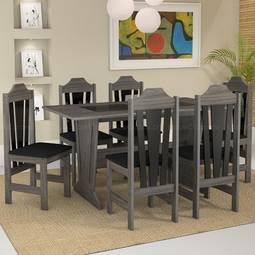 Conjunto de Mesa e Cadeira Ibiza 6 Cadeiras Celta Móveis
