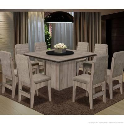 Conjunto de Mesa e Cadeira Dublin 8 Cadeiras Casabras