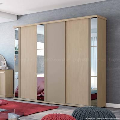 Guarda-roupas Henn Prada Com 3 Portas de Correr 4 Gavetas Com Espelho