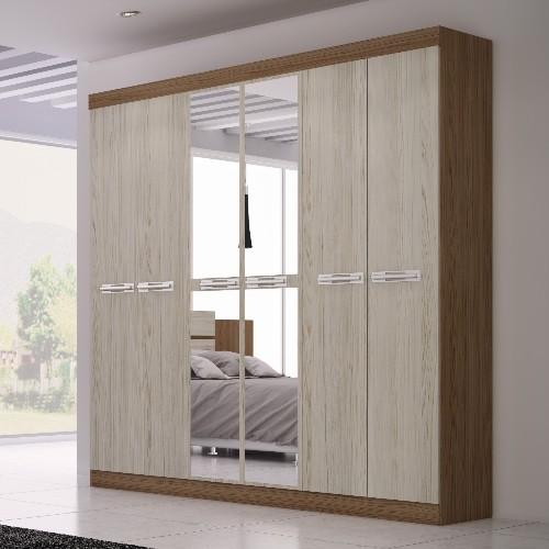 Guarda-roupas Decibal Com 6 Portas 2 Gavetas Com Espelho - Rp6002