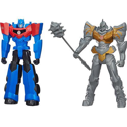 Bonecos Transformers Mv4 Titan Hero Grimlock e Optimus Prime Hasbro