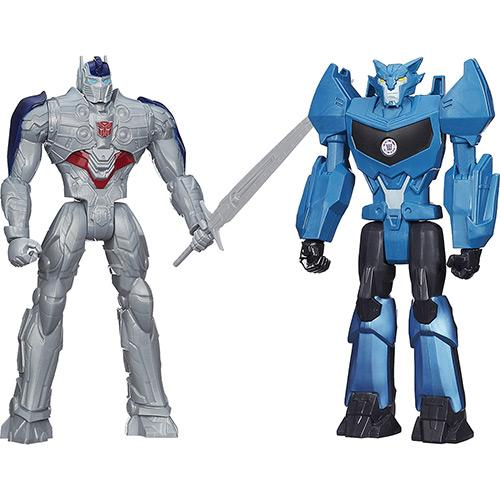 Bonecos Transformers Mv4 Titan Hero Optimus Prime e Steeljaw Hasbro