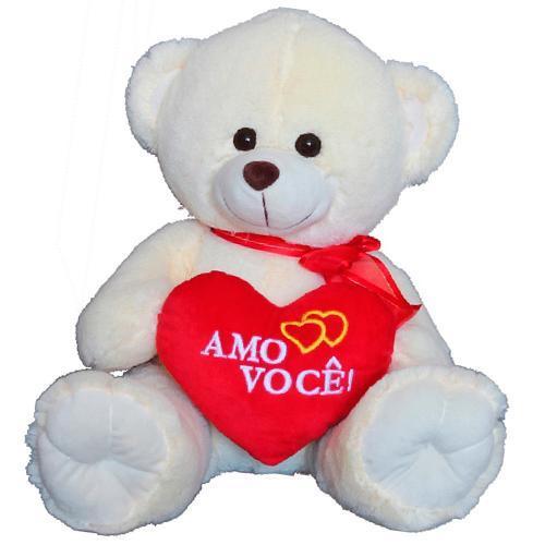 Pelúcia Urso Sorriso Com Coração M Amo Você Giuliana Flores