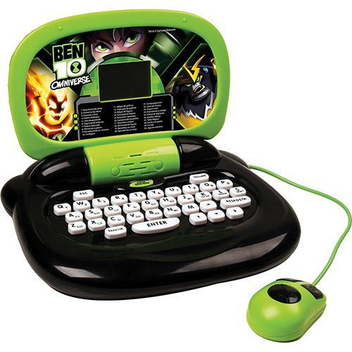 Laptop Infantil Ben 10 Verde e Preto Com 30 Atividades Candide