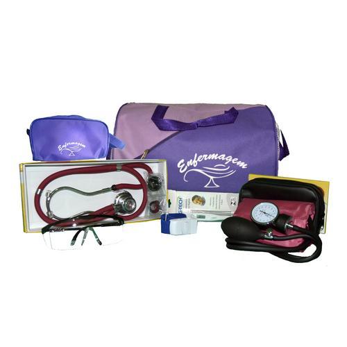 Kit de Enfermagem Com Bolsa Roxa - Aparelho Vinho e Necessaire Roxa Premium