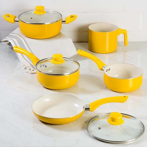 Conjunto de Panela Alumínio 5 Peças Amarelo La Cuisine Lcpan101