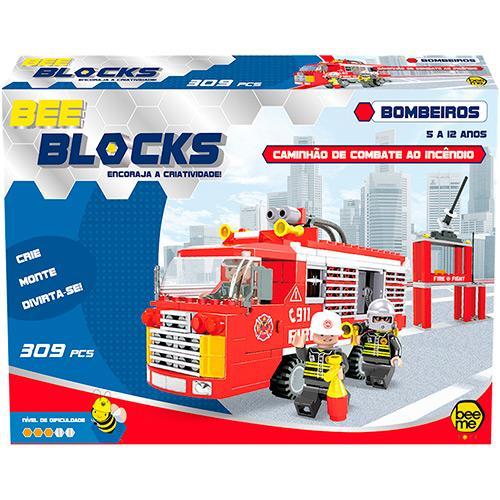 Bee Me Toys Bee Blocks Caminhão de Combate ao Incêndio 309 Peças 1954