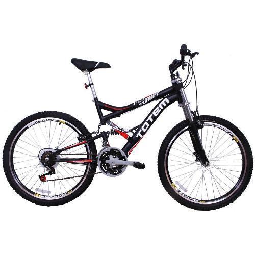 Bicicleta Totem Sport Aro 26 Full Suspensão 18 Marchas - Preto