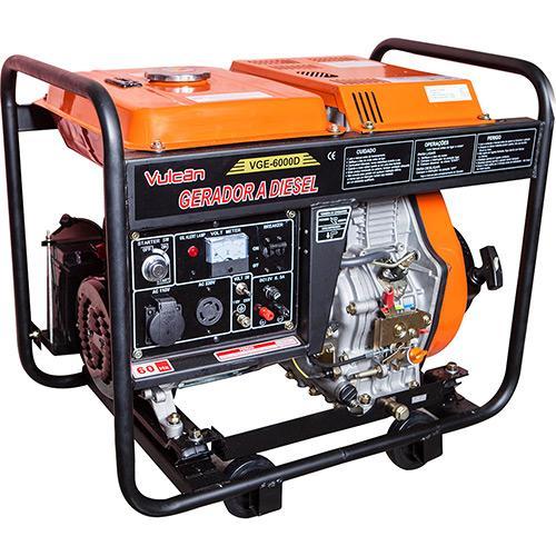 Gerador de Energia Diesel 3600w Vulcan Equipamentos Partida Manual Bivolt - Vg3600d