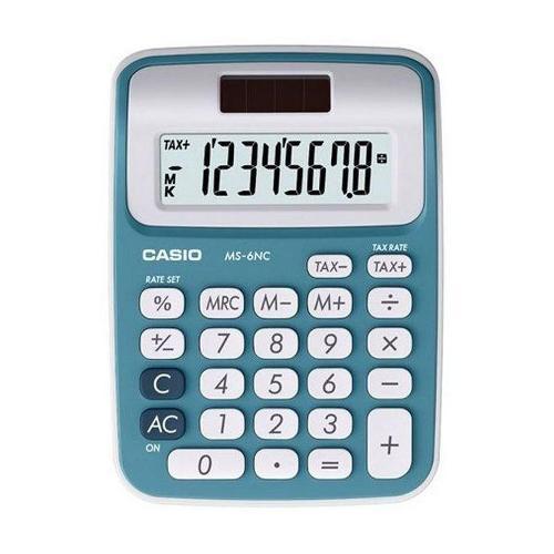 Calculadora de Mesa Mini Azul 8 Dígitos Ms6ncbu Casio