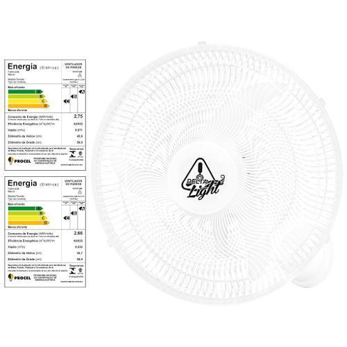 Ventilador de Parede 3 Pás Venti Delta Light Grade de Plástico Branco 50cm - 110v