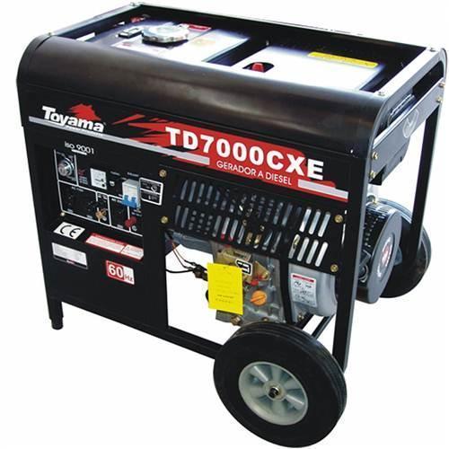 Gerador de Energia Diesel 6000w Toyama Monofásico Bivolt - Td7000cxe