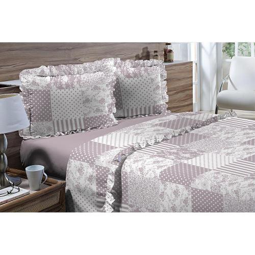 Jogos de Cama Textil Lar Queen 4 Peças Romantique