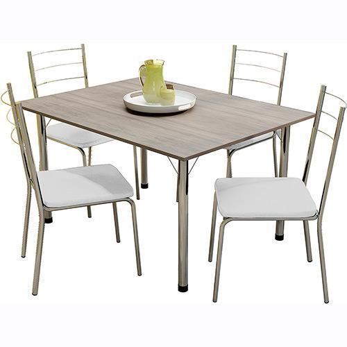 Conjunto de Mesa e Cadeira Adriana 4 Cadeiras Somopar
