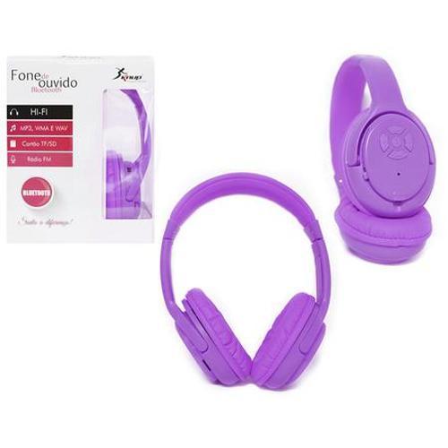 Fone de Ouvido Headphone Sem Fio Mp3 Roxo Knup Kp347