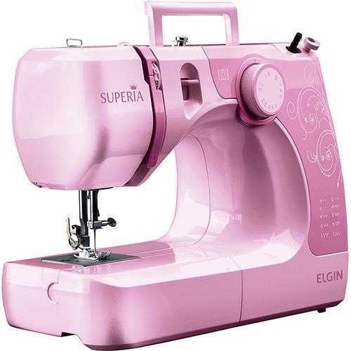 Máquina de Costura Elgin Supéria Jx-2050 600 Ppm 6 Pontos Rosa - 110v