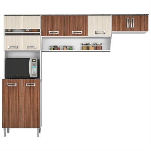 Cozinha Completa Poliman Móveis Compacta 9 Portas 3 Gavetas