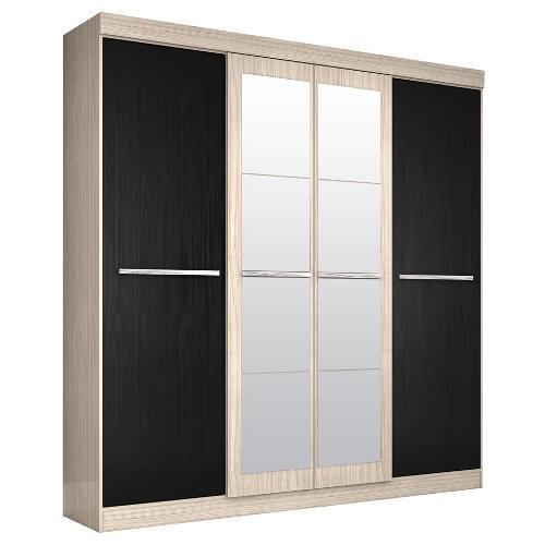 Guarda-roupas Araplac Atraente Com 4 Portas de Correr 4 Gavetas Com Espelho - 1578