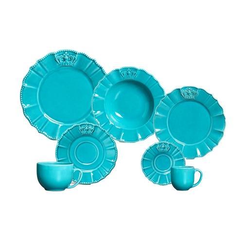 Aparelho de Jantar , Chá e Café Windsor Premium Azul Com Baú 42 Peças - Porto Brasil