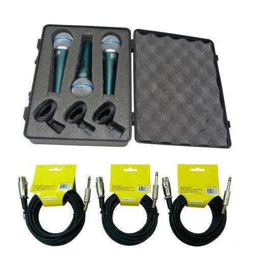 Kit 3 Microfones Dinâmicos Pro Cardióide Bt58a Mxt